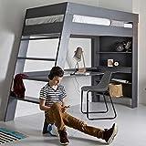 Hochbett-mit-Regal-Schreibtischplatte-JULIEN-Kiefer-gebrstet-Stahlgrau