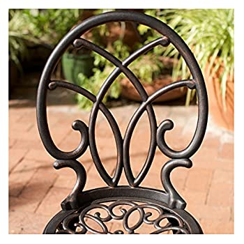 French Ironwork Cast Aluminum Outdoor Patio 3 Piece Bistro Set in Antique Copper Finish - 2 Chairs and 1 Table
