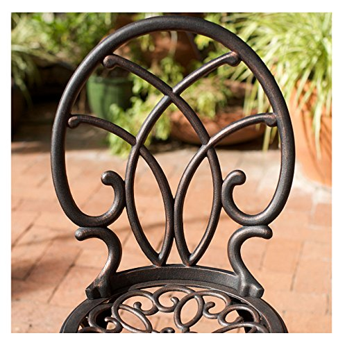 French Ironwork Cast Aluminum Outdoor Patio 3 Piece Bistro Set in Antique Copper Finish - 2 Chairs and 1 Table 1