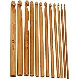 """12pcs 6"""" Bamboo Handle Crochet Hook Knit Craft Knitting Needle Weave Yarn 3-10mm"""