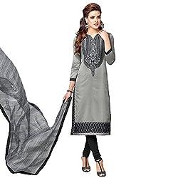 Udantya Women's Chanderi Embroidered Salwar Suit Unstitched Dress Materials (Grey)