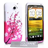 HTC ONE X White / Pink Floral Bee Pattern Silicone Gel Case Cover With Screen Protector Film And Grey Micro-Fibre Polishing Clothby Yousave Accessories