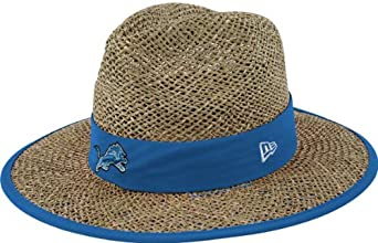 NFL Detroit Lions Training Camp Straw Hat, Tan, One Size Fits All by New Era