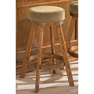 "29""H Bar Stool Tan Fabric Oak Finish"