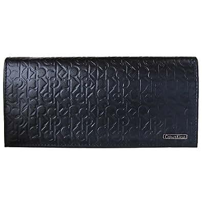 (カルバンクライン)Calvin Klein  74283 ブラック ロゴ型押し 長財布  メンズ(並行輸入品)