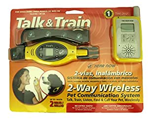 Talk and Train 2-Way Wireless Pet Training Collar /2 mile distance /Yellow/for dogs over 30 lbs.
