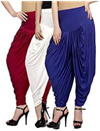 Fashion And Freedom Women's Pack Of 3 Red, White And Blue Lycra Base Viscose Dhoti