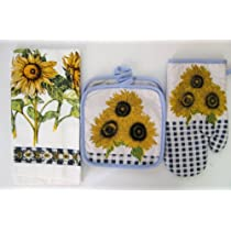 4 Piece Sunflower Kitchen Towel Oven Mitts and Potholder Set