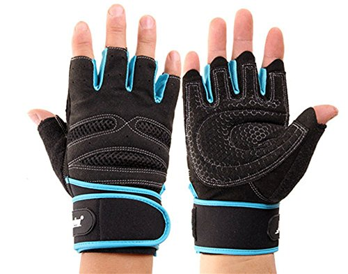 Work Out Gloves Weight Lifting Gym Wrist Wrap Sports Exercise Training Fitness (Black & Blue, X-Large)