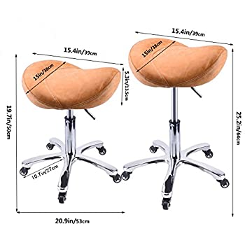 Rolling Stool Saddle Chair Beauty Salon Stool Leather Seat with Wheels Adjustable Height For Studio Medical Office Salon Spa Yellow