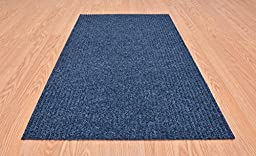 Tough Collection Custom Size Roll Runner Blue 27 in or 36 in Wide x Your Length Choice by Feet Slip Skid Resistant Rubber Back Area Rugs and Runners Commercial Grade For the Office (Blue, 27 in x 4ft)