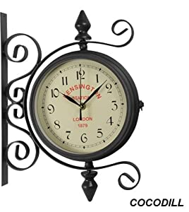 Horloge murale pendule de gare double face design retro for Pendule de cuisine amazon