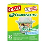 Glad OdorShield Small Kitchen Compostable Trash Bags, 2.6 Gallon, 20 Count (Pack of 2)