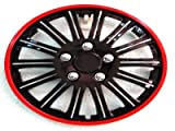 "AUDI A4 (2006-2008) 14"" Lightning Black and Red Rim Wheel Trims / Hub Caps - Set of 4"
