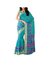 Saree dotcom Art Silk Saree (Light Blue) - B00M3T2UH2