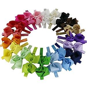 Qinghan® Grosgrain Ribbon Hair Bow Headband DIY Bow Elastic Hair Bands (6'' Hair Bow Headbands Pack of 20)