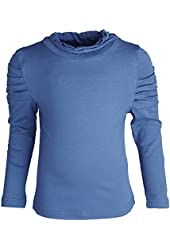 Prima Big Girls Comfy Cotton Dressy Turtleneck with Frilly Sleeves and Neck