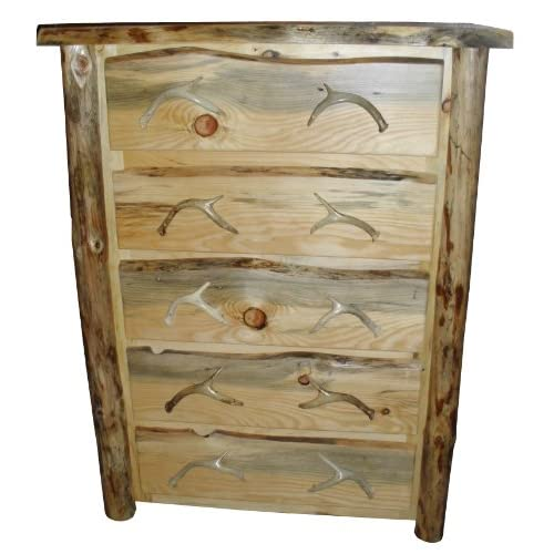 Rustic Log 5 Drawer Dresser with Deer Antler Pulls * Cabin * Lodge