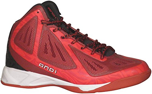 AND1 Men's Xcelerate Mid Sneaker,V-Red/Black/White,US 9.5 M