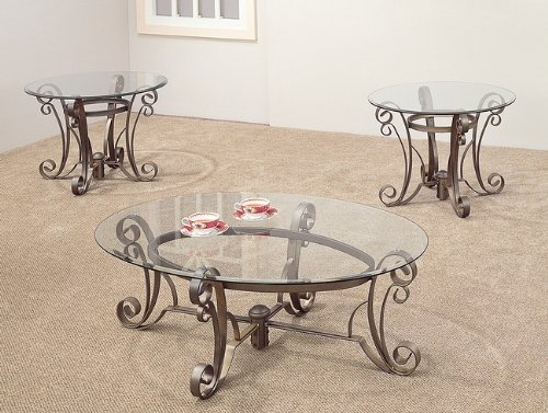 Cheap 3PC Metal Base Oval Coffee Table 2 Occasional Side End Tables