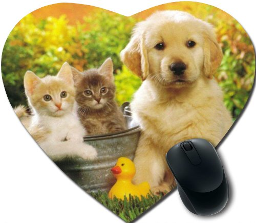 cute baby kittens Personalized Unique Design Durable Printing heart shaped Mouse Pad