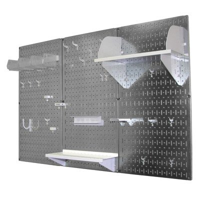 Wall Control 4ft Metal Pegboard Standard Tool Storage Kit - Galvanized Metallic Toolboard & White Accessories