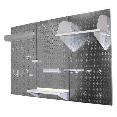 Wall Control 4ft Metal Pegboard Standard Tool Storage Kit - Galvanized Metallic Toolboard & White Accessories