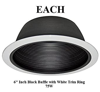 6 inch recessed lighting baffle trim in black replaces. Black Bedroom Furniture Sets. Home Design Ideas