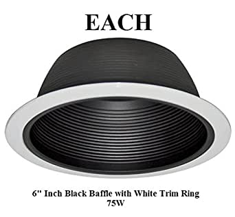 6 INCH RECESSED LIGHTING BAFFLE TRIM IN BLACK REPLACES HALO JUNO CAPRI
