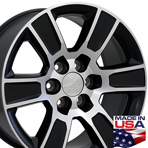 20x9 Fits Chevrolet Sierra Wheels - Matte Black w/a Machined Face - Set of 4 Rims (Set Of 20 In Rims compare prices)