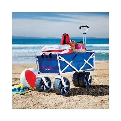 Lowest Price! Folding Beach Wagon All Terrain Blue Collapsible Kart Foldable Sports Dolly Gear Stora...