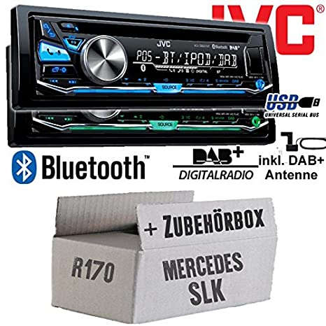 Mercedes SLK R170 - JVC KD-DB97BT - DAB+ Digitalradio | Bluetooth | USB | Autoradio inkl. DAB+ Antenne - Einbauset