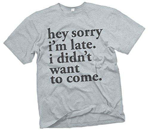 Mens Hey Sorry Im Late. I Didnt Want To Come T-Shirt, Light Steel, Medium