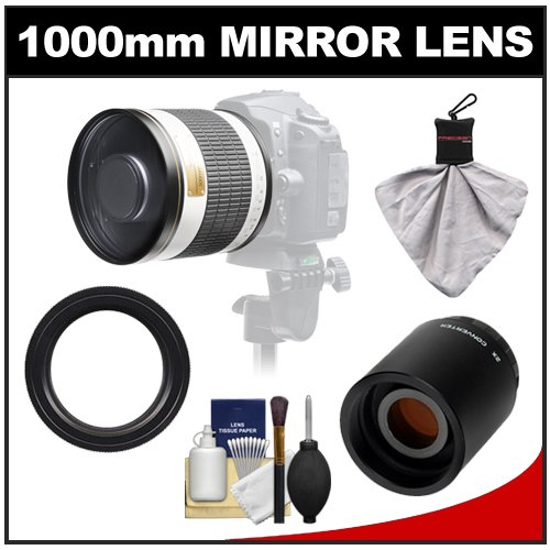 Samyang 500Mm F/6.3 Mirror Lens (White) With 2X Teleconverter (=1000Mm) For Canon Eos 60D, 7D, 5D Mark Ii Iii, Rebel T3, T3I, T4I Digital Slr Cameras
