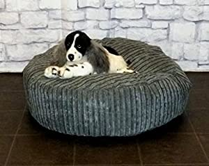 "Zippy Round Bean Bag Pet Dog Bed - 30"" diameter - Grey Jumbo Cord Fabric - Beanbags by Zippy"