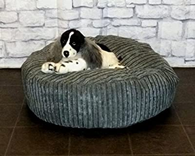 "Zippy Round Bean Bag Pet Dog Bed - 30"" diameter - Grey Jumbo Cord Fabric - Beanbags"