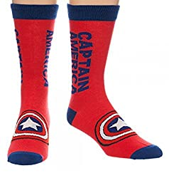Marvel Captain America Text Logo Crew Socks
