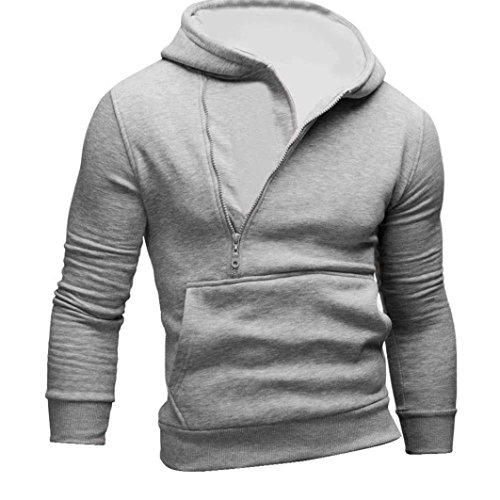 Felpa uomo, FEITONG felpa con cappuccio manica lunga con cappuccio giacca cappotto outwear cime (Grigio, M)