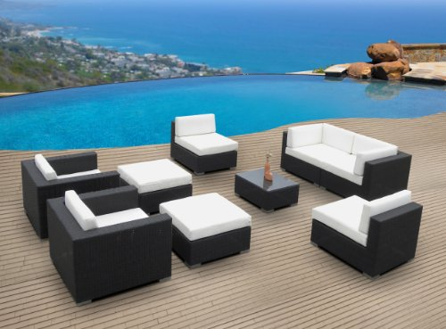 Outdoor Patio Furniture Wicker Sofa Sectional 9pc Resin Couch Set image