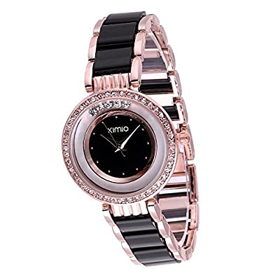 Fashion Womens Rose Gold Black Casual Ceramic Quartz Wrist Watch Ladies Bracelet Clock