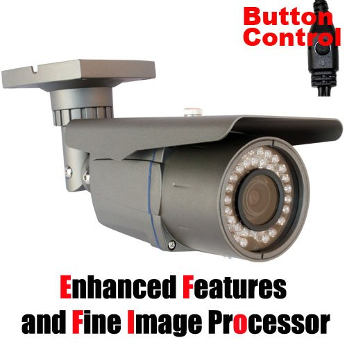 Gw Security Professional 700Tvl Surveillance Video Outdoor Cctv Security Camera - 1/3-Inch Sony Exview Had Ccd Ii With Effio-E Dsp Devices, 700 Tv Lines, 2.8-12Mm Varifocal Lens, 42Pcs Ir Led, Wdr, Osd Menu Button Control