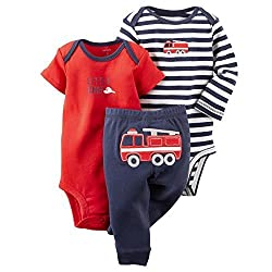 Carters Baby Boys 3-Piece Bodysuit & Pant Set Navy/Red Firetruck Preemie
