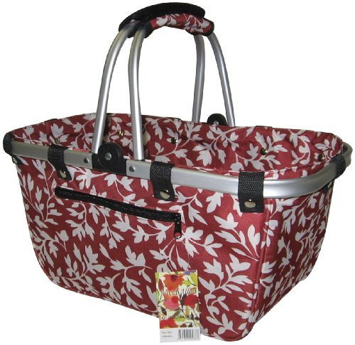 """JanetBasket Red Floral Large Aluminum Frame Bag 18""""X10""""X9 1/2"""" NB009-L from NCM Canada, Inc."""