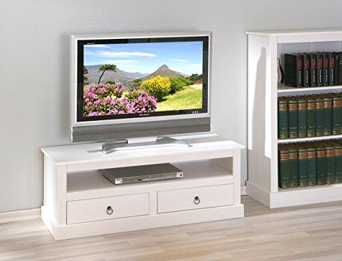 TV-Schrank-Landhaus-wei-Echtholz-2-Schubladen-1-Fach-Lowboard-Medienschrank-gnstig
