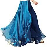 Simplicity Women Full Circle Pleated Summer Beach BoHo Chiffon Long Skirt