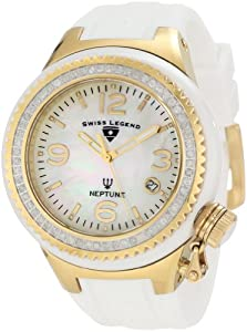 Swiss Legend Women's 11844D-WWGA Neptune White Mother-Of-Pearl Dial Diamond Accented Watch