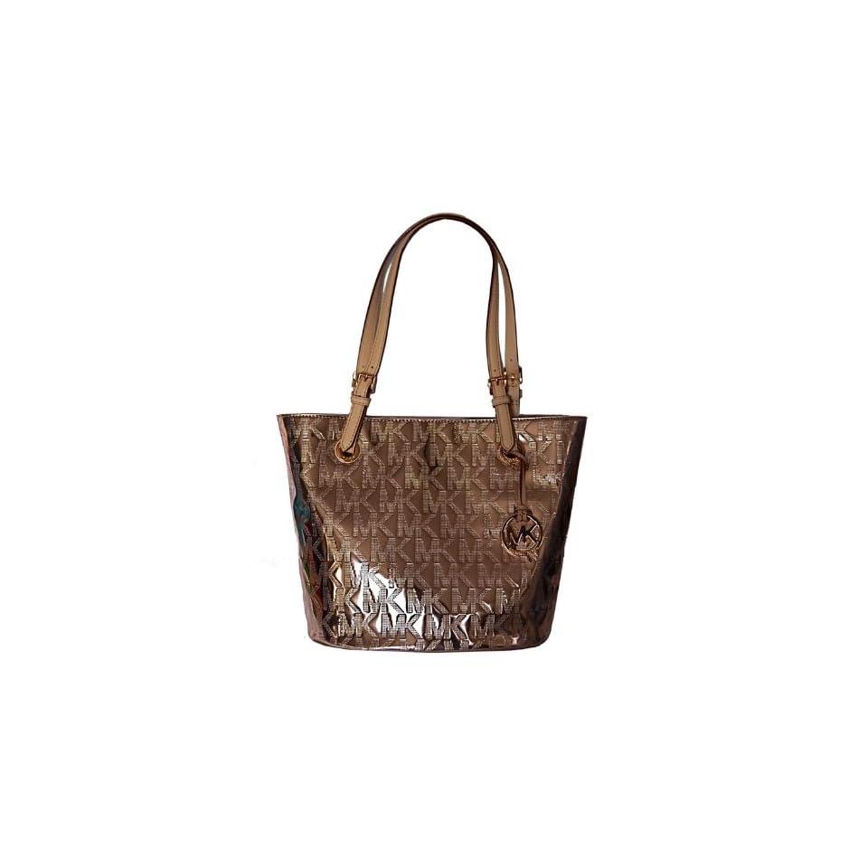 2fb3ccc2fcef Michael Kors MK Mirror Metallic Item MD Tote Shoulder Bag Handbag Purse  Rose Gold