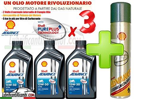 Offerta-Shell-Advance-4T-Ultra-15W50-100-Sintetico-3-LitriShell-Advance-Helmet-Pulitore-casco-Elimina-silicone-insetti-olio-grasso-formato-300-ml