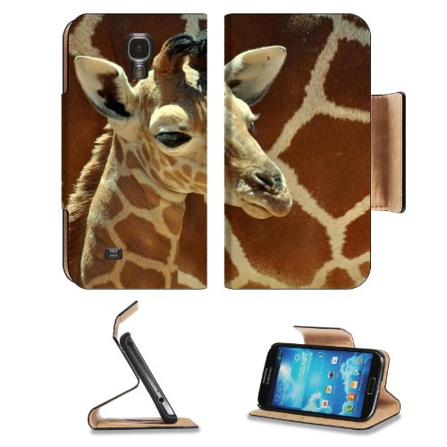 Giraffe Small Calf Face Pattern Cute Baby Africa Wildlife Animal Samsung Galaxy S4 Flip Cover Case With Card Holder Customized Made To Order Support Ready Premium Deluxe Pu Leather 5 Inch (140Mm) X 3 1/4 Inch (80Mm) X 9/16 Inch (14Mm) Luxlady S Iv S 4 Pro front-51659