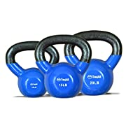 Set Vinyl Coated Kettlebell 10 + 15 + 20 lbs - ?KM1UZ